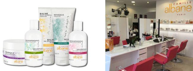 Exemple de produits et l'intérieur d'une franchise Camille Albane